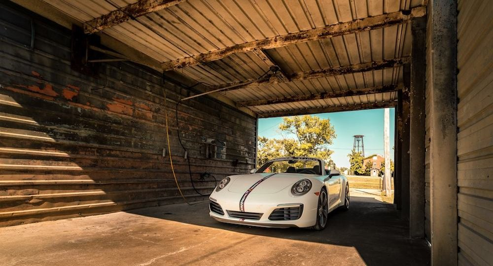 White Porsche in a tunnel coated with Ceramic Pro. 5 Point Auto Spa provides professional ceramic coatings in Carlsbad, CA.